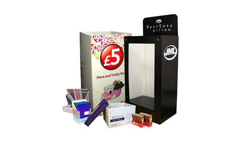 Flexo printed & digital printed cardboard FSDU and POS packaging from Caps Cases in Suffolk, Scotland and Hertfordshire. FSDU fulfilment services
