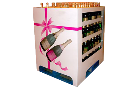 Corrugated point of sale wine display by Caps Cases